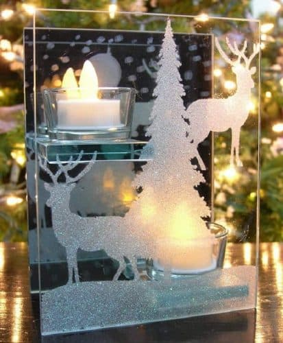 Glass Candle Holder with Deer Silhouette (comes with 2 LED tealights)