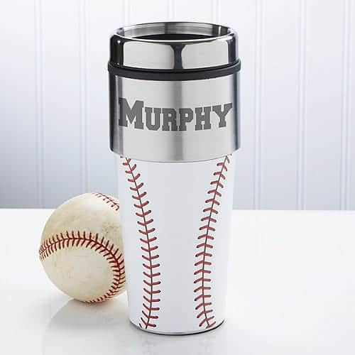 Home Run Personalized Baseball Travel Mug