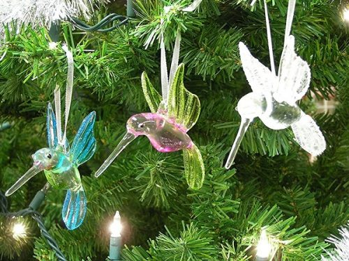 Hummingbird Glass Christmas Tree Ornaments