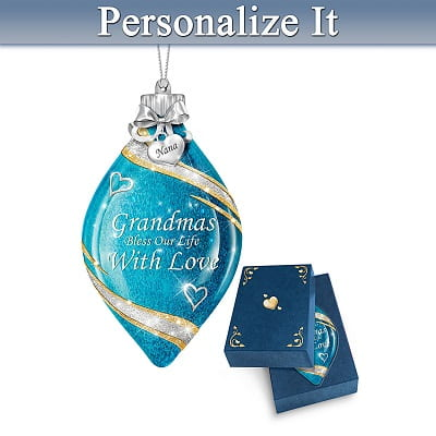 Illuminated Personalized Glass Christmas Ornament For Grandmother