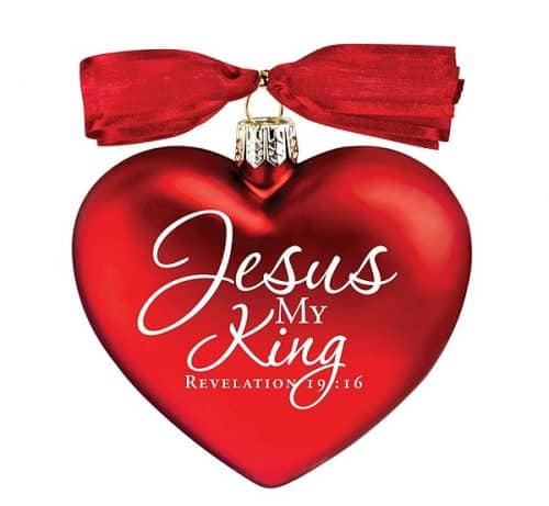 Jesus My King Red Heart Christian Christmas Tree Ornament