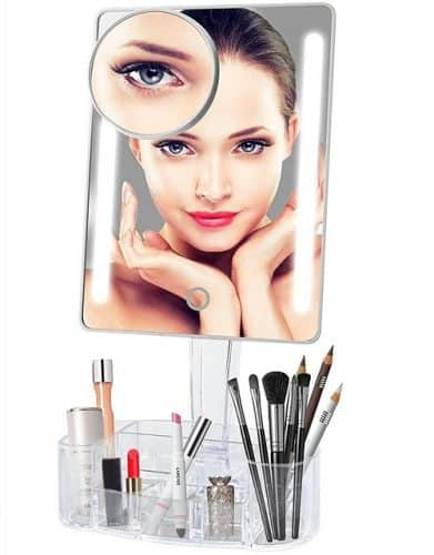 Lighted Vanity Mirror with Makeup Organizer