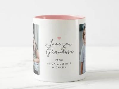Love you Grandma 2-Photo Two-Tone Coffee Mug