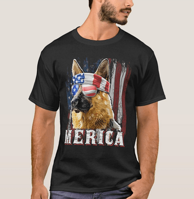 Merica German Shepherd Dog 4th July American Flag T-Shirt