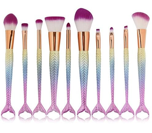 Mermaid Makeup Brush Set - 10 Brushes