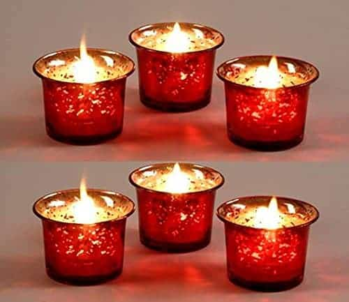 Metallic Red Glass Candle Holders | Christmas Glass Candle Holders