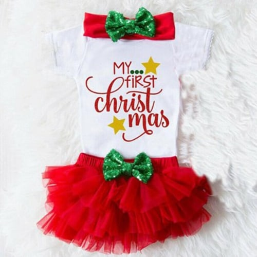 My 1st Christmas Baby Girls Princess Romper+Tutu