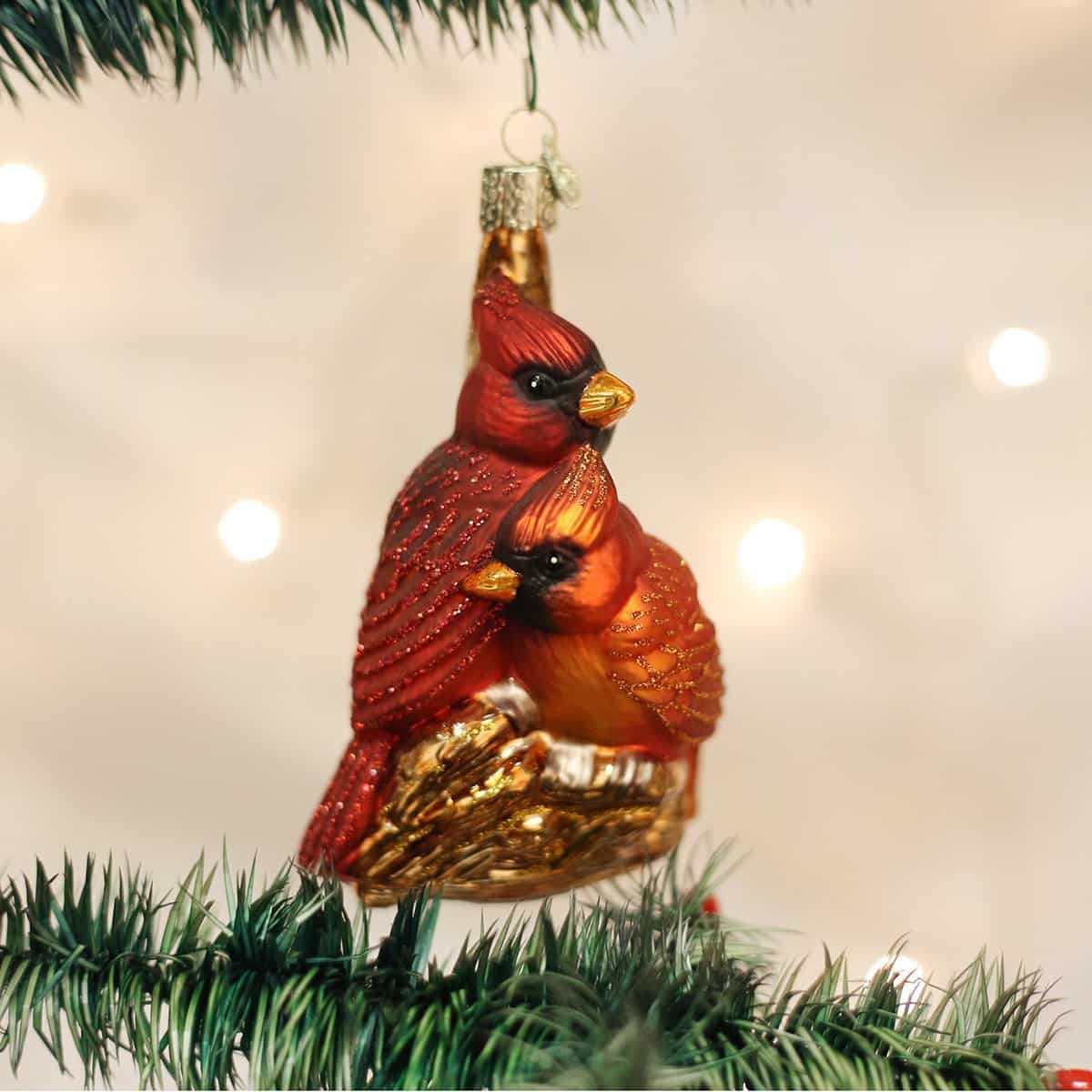 Pair Of Cardinals Christmas Tree Ornament