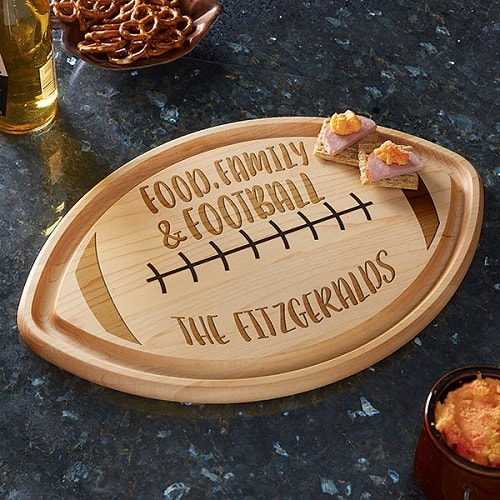 Personalized Football Shaped Cutting Board - Gifts for Football Lovers