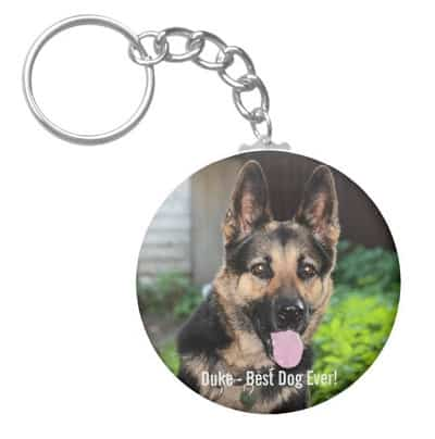Personalized German Shepherd Dog Photo, Dog Name Keychain