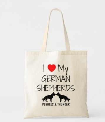 Personalized I Love My Two German Shepherds Tote Bag