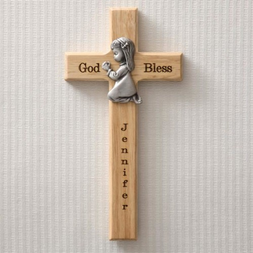 Personalized Wood Cross - Praying Girl | Christian Baby Girl Gift