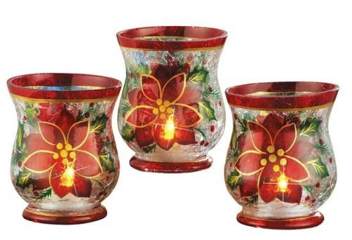 Poinsettia Candle Holders made from glass