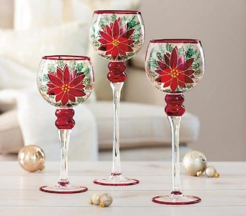 Poinsettia Wine Glass Candle Holders