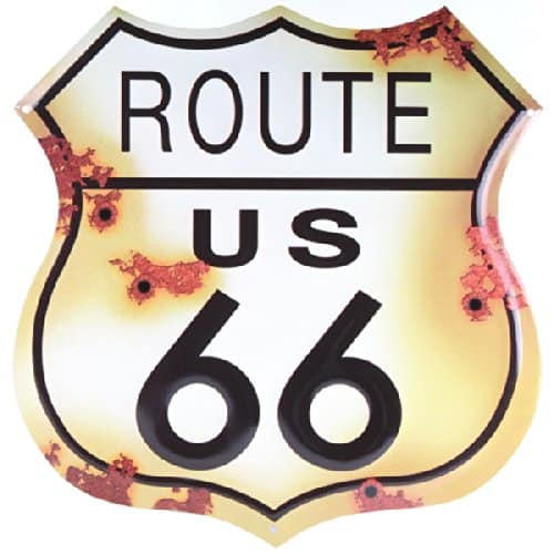 Route 66 Distressed Look Tin Sign - Cool gifts for motorcycle lovers