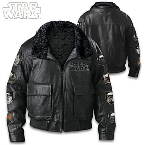 STAR WARS Leather Bomber Jacket With Sherpa Collar