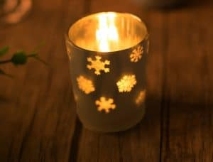 Silver Glass Candle Holders with snowflake decor