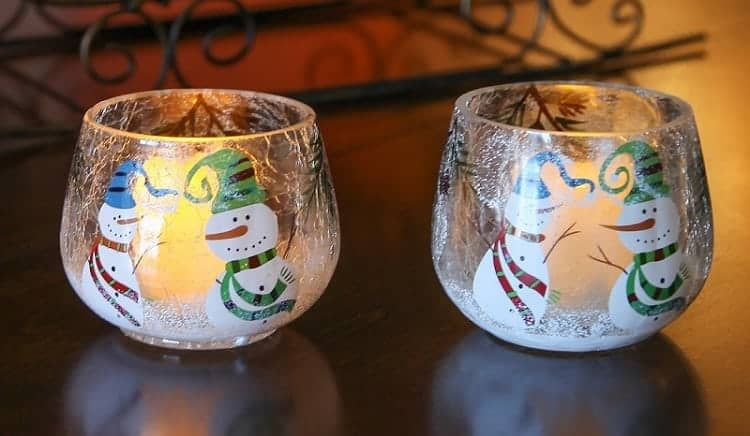 Snowmen Crackle Glass Candle Holders