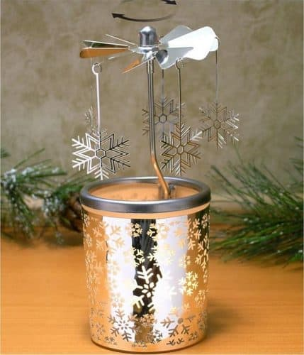 Spinning Snowflakes Candle Holder with Frosted Glass