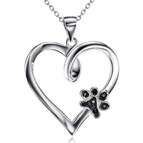 Sterling Silver Forever Love Heart Puppy Paw Pendant Necklace - Pawsome gift for dog lovers