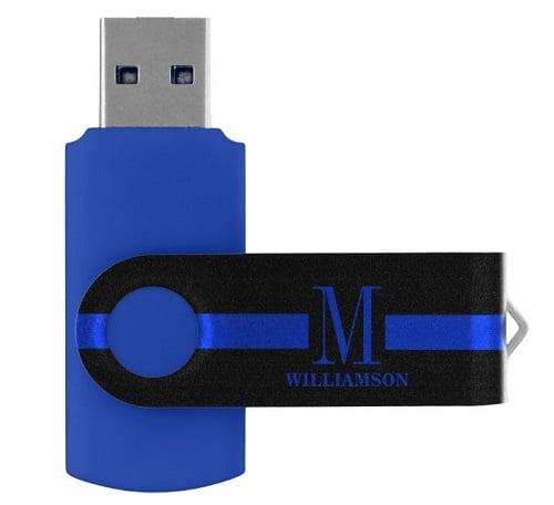 Thin Blue Line Personalized Monogram USB Flash Drive
