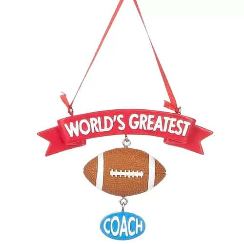 World's Greatest Coach Football Hanging Ornament