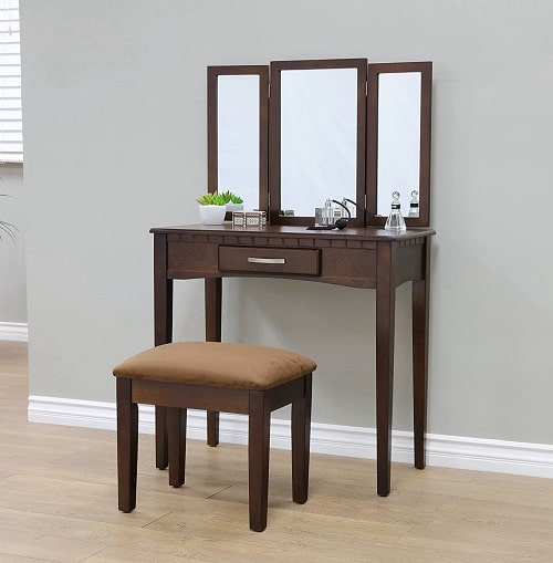2 Piece Vanity Set With Mirror, Espresso