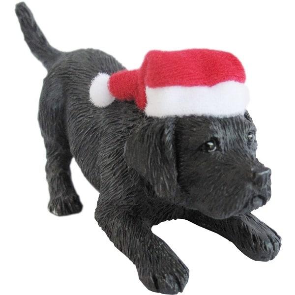 Black Labrador Retriever with Santa Hat Christmas Ornament