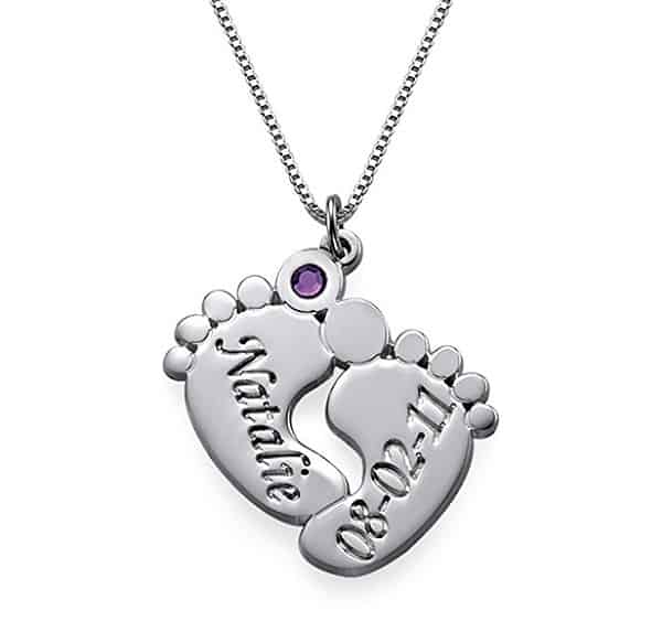 Engraved Baby Feet Pendant Necklace with Personalized Birthstone | Jewelry Gifts For New Moms