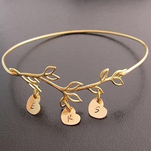 Family Tree Bracelet With 3 Charms   Jewelry Gifts For New Moms