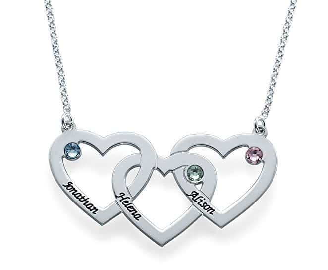 Intertwined Hearts Necklace in Sterling Silver with Birthstones | Jewelry Gifts For New Moms