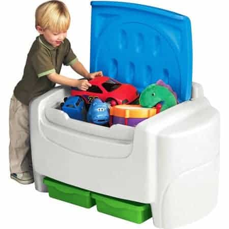 Little Tikes Sort 'n Store Toy Storage Chest, White and Blue