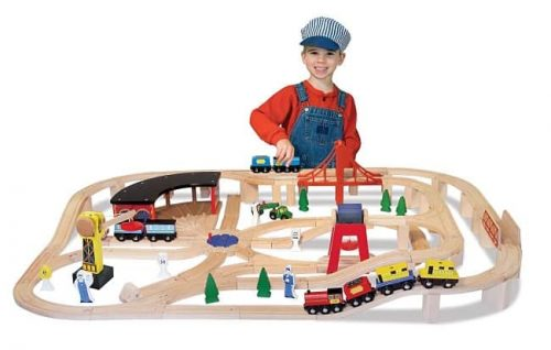 Melissa & Doug Deluxe Wooden Railway Train Set | Gifts For 3 Year Old Boys