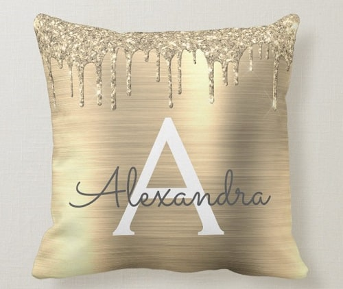 Personalized Gold Glitter Monogram Name Throw Pillow