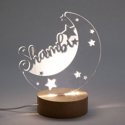 Personalized Moon and Stars Nightlight - Christmas Gifts for Babies