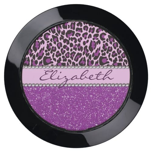 Personalized Purple Leopard Print Glitter USB Charging Station