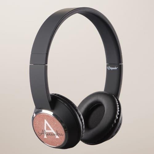 Rose Gold Glitter & Sparkle Personalized Monogram Headphones