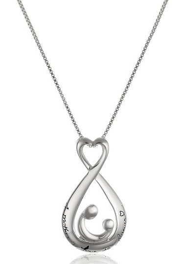 Sterling Silver Open Teardrop Pendant Necklace   Jewelry Gifts For New Moms
