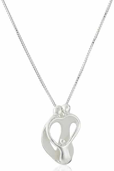 Sterling Silver Parents with One Child Pendant Necklace | Jewelry Gifts For New Moms