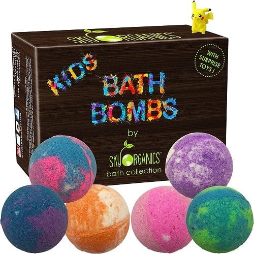Kids Bath Bombs Gift Set with Surprise Toys - Organic Bath Bombs for Kids with toy surprise