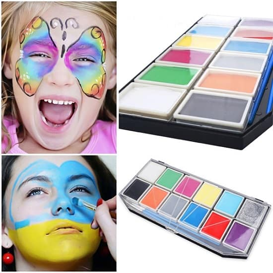 Face Painting Set, 12 Colors, 2 Brushes, 2 Face Tattoos, 3 Face Paint Stencils