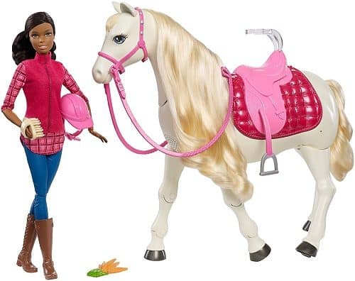 Barbie Dream Horse & Black Hair Doll | Barbie doll with interactive horse that responds to actions and touch.