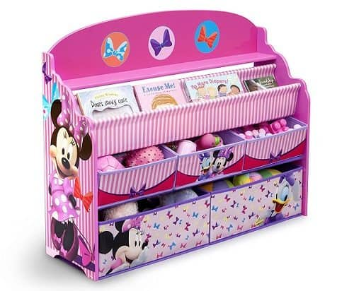 Deluxe Minnie Mouse Book & Toy Organizer - This Minnie Mouse Book & Toy organizer has 5 bins and fabric storage on top for books. Also available in Disney Princess, Mickey Mouse and Cars theme.