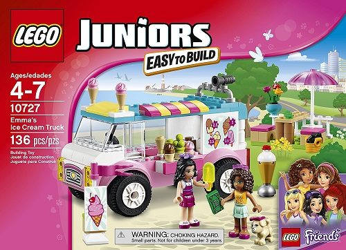 LEGO Juniors Emma's Ice Cream Truck - This cool toy for 5-year-olds features an ice cream truck with open roof and side, room for a mini-doll to stand or sit, cash register, toppings bottles, ice cream cone holder and a freezer.