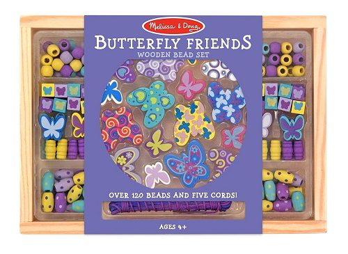 Melissa & Doug Butterfly Friends Wooden Bead Set for Jewelry Making