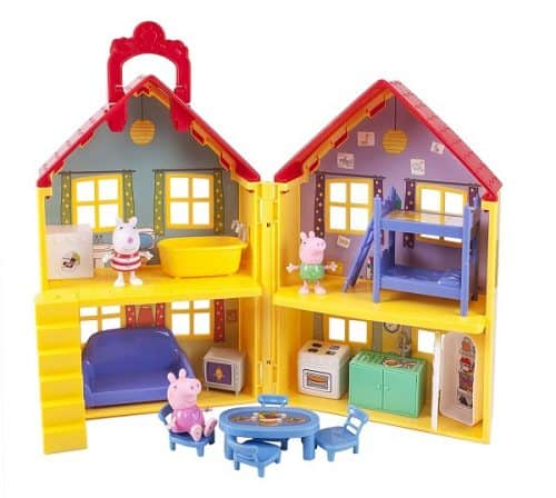 Peppa Pig Deluxe House features 4 rooms, 15 play pieces, including: washing machine, fridge, barbecue, bunk beds, dinner table, bath tub, and more! Suzy, George and Peppa figures are included - Toy for kids Age 3+