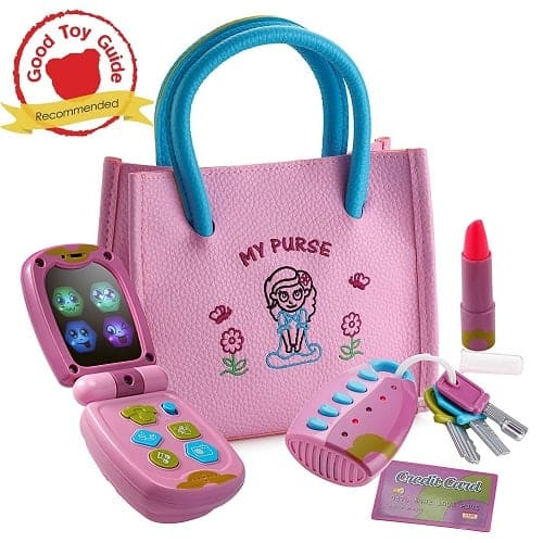 Playkidz My First Purse – Pretend Play Princess Set for Girls with Handbag, Flip Phone, Light Up Remote with Keys, Play Lipstick & Kids Credit Card