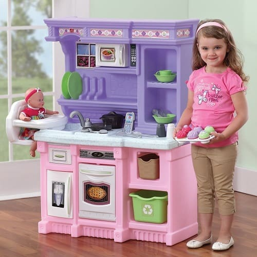 Step2 Little Bakers Kitchen - The Little Bakers Kitchen is compact, upscale and colorful, perfect for your little chef. This kitchen features an electronic bruner, oven, microwave and refrigerator.