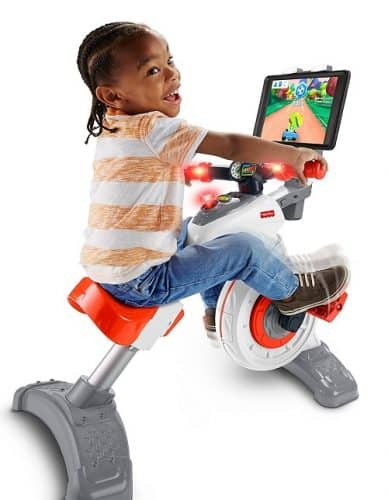 Fisher Price Think & Learn Smart Cycle is compatible with Apple iPad, Apple TV, most Android tablets, Android TV, Amazon Fire tablets, and Amazon FireTV