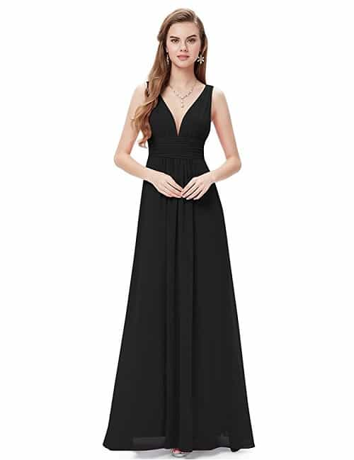 Black Long Party Dress with V-neck. Made from chiffon and fully lined